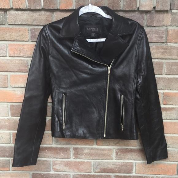 Express Jackets & Blazers - Express Classic Leather Jacket - Black